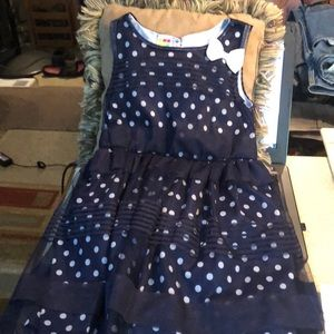 Navy blue white polka dot dress 5t